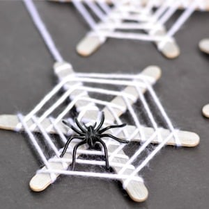 Halloween Popsicle Spiderweb Craft for Kids