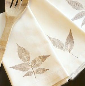 Fall Leaf Stamped Tea Towel Fall Craft