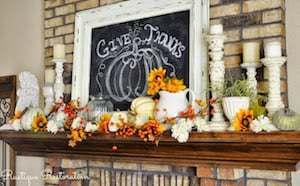 Autumn Mantel with chalkboard sign and candles
