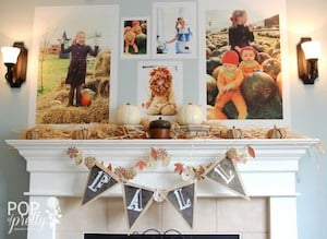 Fall Mantel with Family Pictures above