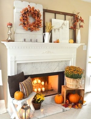 Fall Mantel with layered fall decor