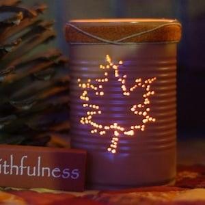 Maple Leaf Tin Can Luminary Fall Craft