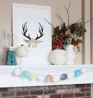 bright Fall Mantel decor idea