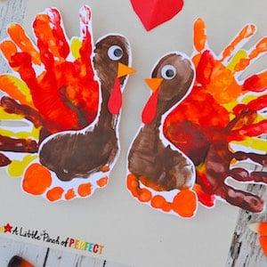 Turkey Footprint Art Thanksgiving Craft