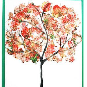 Q Tip Autumn Tree thanksgiving craft for kids