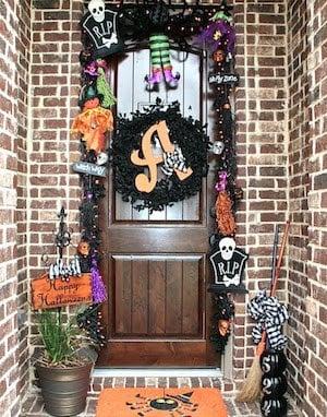 Halloween garland over front door