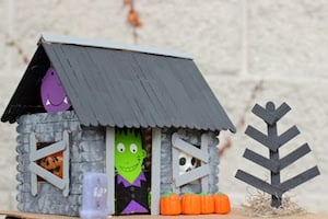Popsicle Stick Haunted House Halloween Craft for Kids