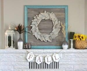DIY Fall Mantel Ideas with fall leaf wreath wall art
