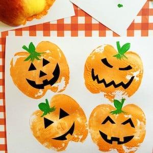 Pumpkin Apple Stamps Craft for Kids