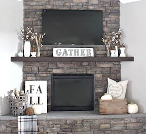 Rustic Fall Mantel with DIY fall sign