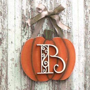 Painted Pumpkin Monogram Wreath