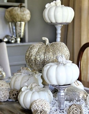 Fall Dining Roomwith white and gold pumpkins