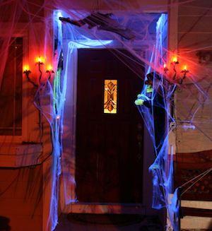 Glow in the Dark Spider Webson front door