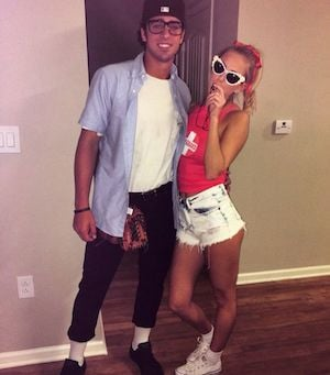 squints wendy peffercorn from the sandlot squints jean pants jean button up t shirt with undershirt black frame glasses black hat