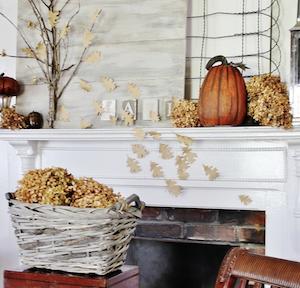Neutral Fall Mantel pumpkins and mums