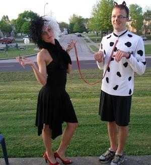 Cruella and Dalmatian cute costumes for couples