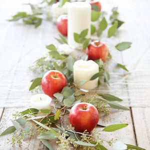 Apple and candle diy fall Centerpiece