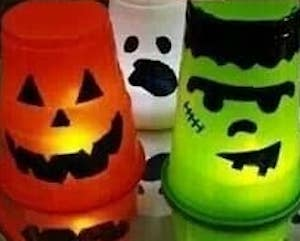 Dollar Store Halloween Faces Solo Cups