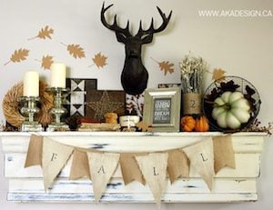 Rustic Chic Mantel with antlers and burlap fall garland