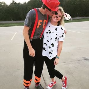 other couples halloween costumes deer hunter costumes hunting outfit tan leggings white sweater fur vest deer antler headband black white makeup