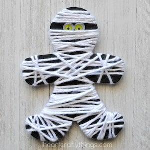 Yarn Mummy Halloween Craft for Kids