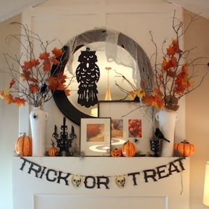 Halloween Mantel with trick or treat garland