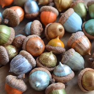 colorful painted acorns