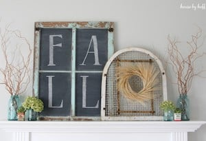 fall chalkboard sign for mantel