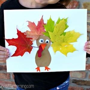 Easy Leaf Turkey Craft for kids