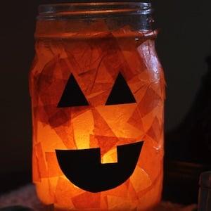halloween Jack O lantern mason jar craft for kids