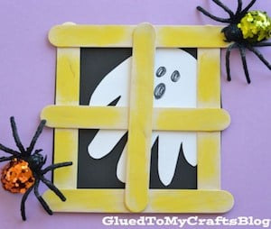 Popsicle Stick Ghost in Window Halloween Craft