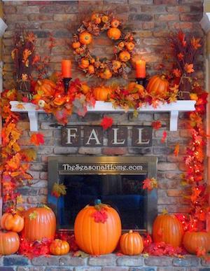 Orange Fall Mantel with pumpkins fall leaf garland