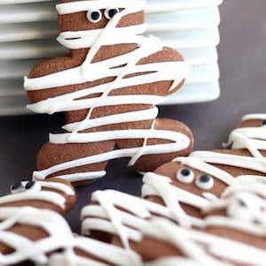 Chocolate Pumpkin Cut Out Mummy Cookies