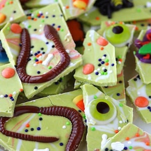 Candy Worms and Bugs Halloween Bark