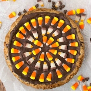 Harvest Candy Corn Chocolate Chip Cookie Cake