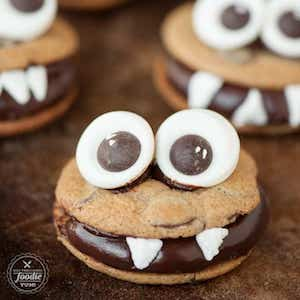 Chocolate Monster Cookie Sandwiches