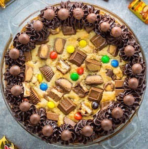 Leftover halloween Candy Bar Cookie Cake