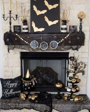 Elegant Black & Gold Halloween Mantel Decor