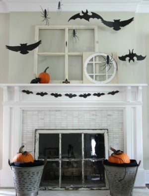 3-D Silhouette bats and spiders for above the fireplace