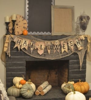 gray and beige  Halloween Mantel Decorations