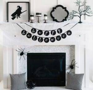 modern Glam Halloween Mantel