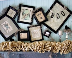 Vintage Halloween Mantel with burlap garland and picture frames