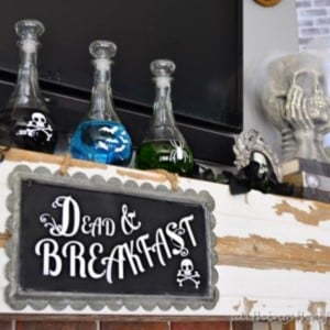 Thrifty Halloween Mantel with potions
