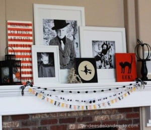 Photo picture frame Halloween Mantel