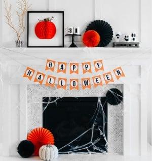 modern black and orange Halloween Mantel