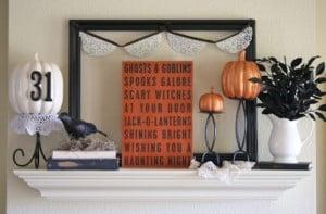 black white and orange halloween mantel