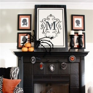 Simple black and orange Halloween Mantel