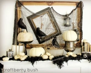 Family Room vintage Halloween Mantel  with crowns and white pumpkins