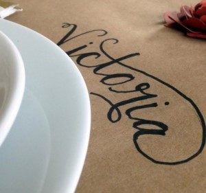 Kraft Paper Table Runner with written place settings