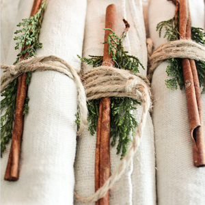 Thanksgiving Napkin Bundles with evergreen and cinnamon